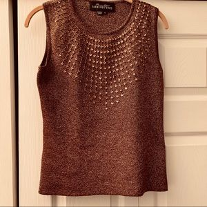 Fabulous Furs Sleeveless Sequined Top - Small
